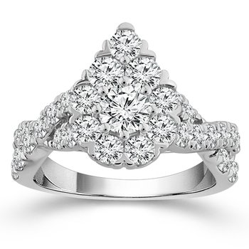 2ct tw NewBorn Lab Created Diamond Thousand Points of Light Engagement Ring in 14K White Gold