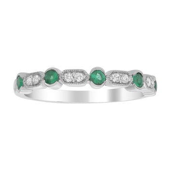 1/4ct tw Diamond & Emerald Stackable Ring in 14K White Gold