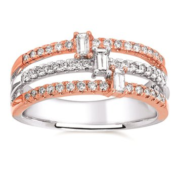 1/2ct tw Diamond Stacked Triple Ring in 14K White & Rose Gold