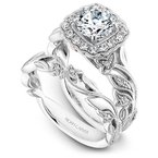 1/3ct tw Diamond Halo Engagement Ring Setting in 14K White Gold with Rose Color Accents