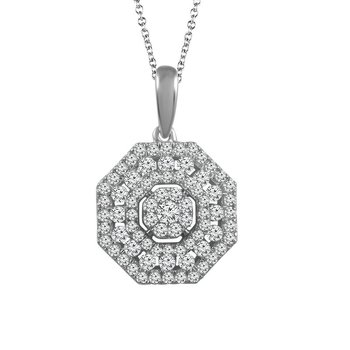 1/2ct tw Diamond Halo Necklace in 14K White Gold