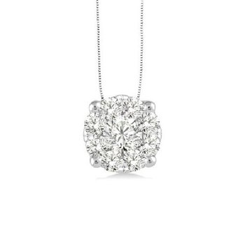 3/4ct tw Diamond Thousand Points of Light Solitaire Necklace in 14K White Gold