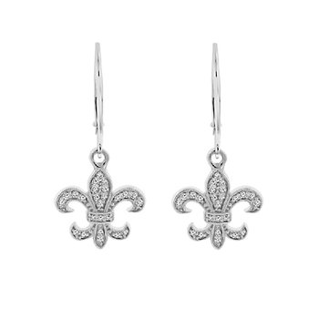 1/4ct tw Diamond Fleur de Lis Earrings in 14K White Gold