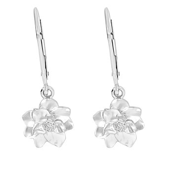 .05ct tw Diamond Nola Collection Magnolia Earrings in Sterling Silver