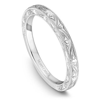 Engraved Wedding Ring in 14K White Gold