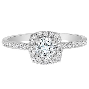 1/3ct tw Diamond NewBorn Lab Created Diamond Halo Engagement Ring Setting in 14K White Gold