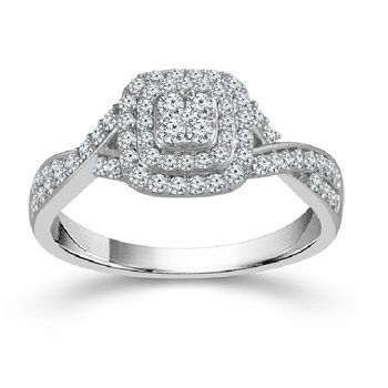 1/2ct tw Diamond Halo Engagement Ring in 10K White Gold