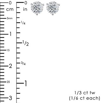 1/3ct tw Diamond Solitaire Stud Earrings in 14K White Gold