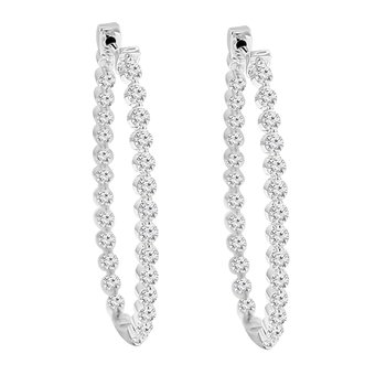 2ct tw Diamond Hoop Earrings in 14K White Gold