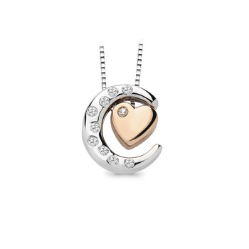 1/10ct tw Diamond Moon & Back Necklace in Sterling Silver & 10K Rose Gold