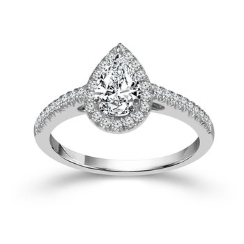 1ct tw Diamond Halo Engagement Ring in 14K White Gold