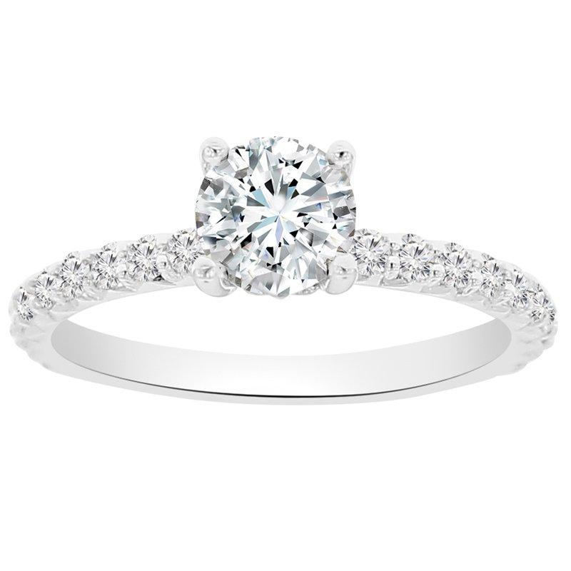 3/8ct tw NewBorn Lab Created Diamond Fleur De Lis Engagement Ring Setting in 14K White & Rose Gold
