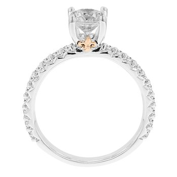 3/8ct tw NewBorn Lab Created Diamond Fleur De Lis Engagement Ring Setting in 14K White & Rose Gold