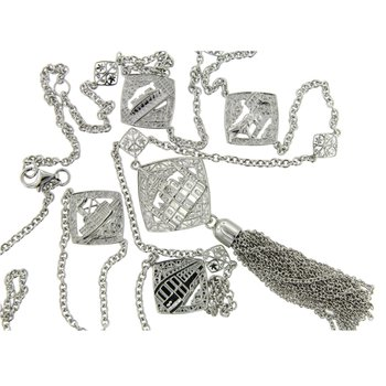 .01ct tw Diamond French Quarter Collection Cathedral Tassel Necklace in Sterling Silver