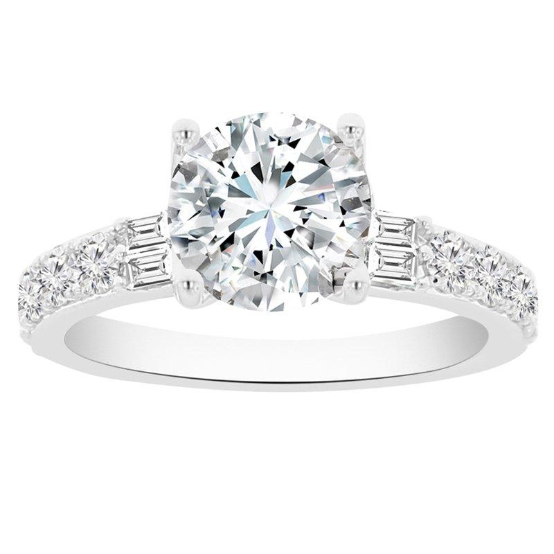 7/8ct tw Diamond Engagement Ring Setting in 14K White Gold