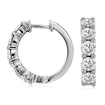 1/4ct  tw Diamond Hoop Earrings in 14K White Gold
