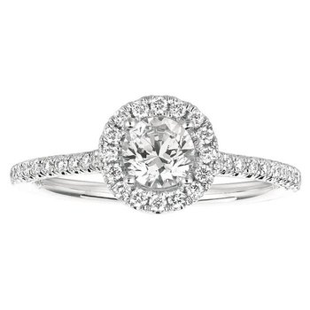 3/4ct tw Diamond Halo Engagement Ring in 14K White Gold