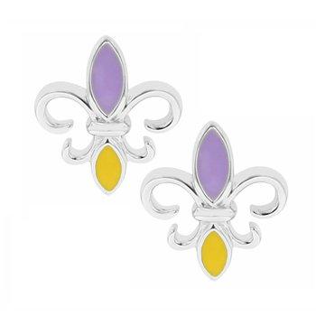 Fleur De Lis Stud Earrings in Sterling Silver