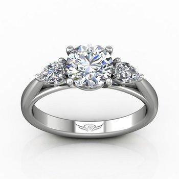 1/2ct tw Diamond Three Stone Engagement Ring Setting in 14K White Gold