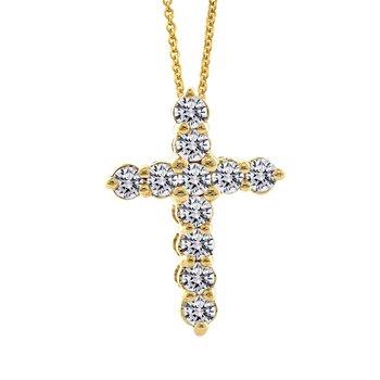 1/3ct tw Diamond Cross Necklace in 14K Yellow Gold