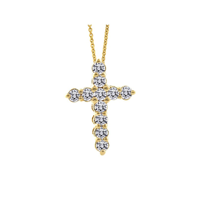 1/3ct tw Diamond Cross Necklace in 14K Yellow Gold
