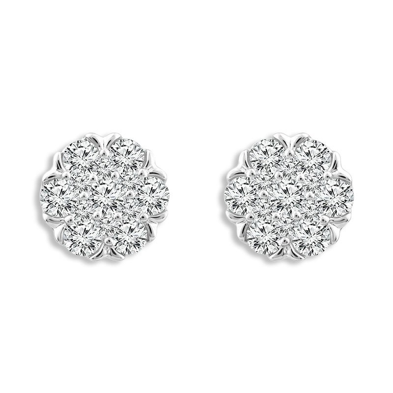 1/2ct tw NewBorn Lab Created Diamond Thousand Points of Light Stud Earrings in 14K White Gold