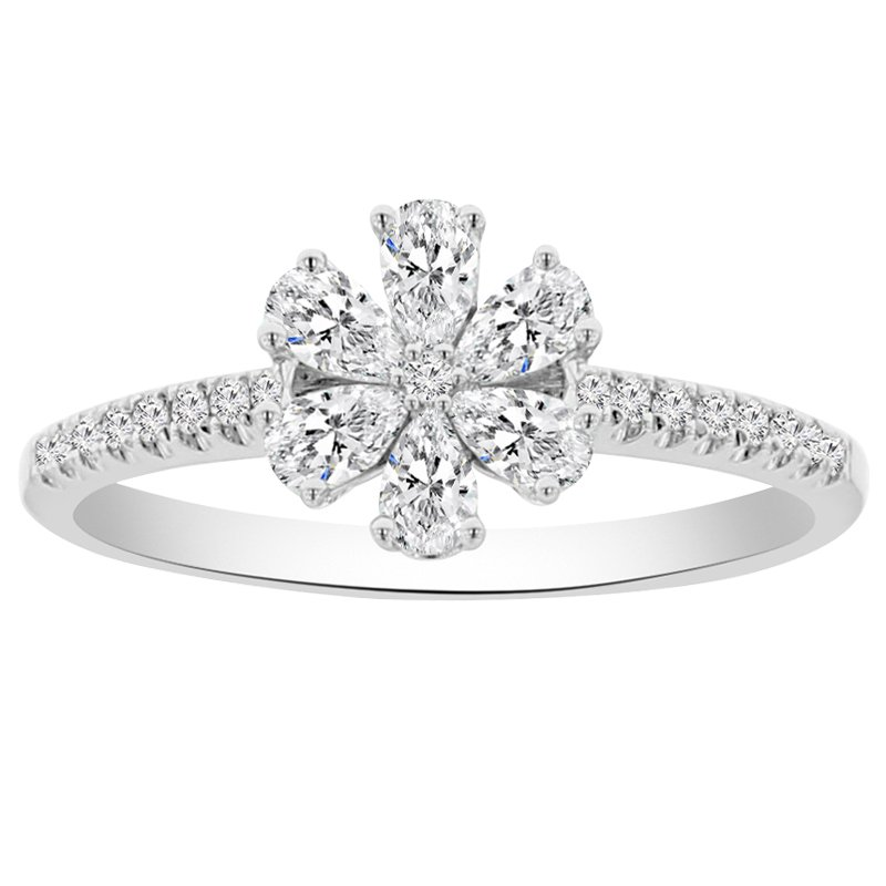 1/2ct tw Diamond Floral Fashion Ring in 18K White Gold