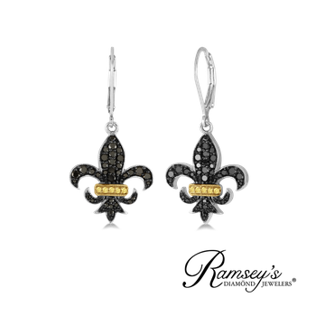 3/4ct tw Diamond Fleur De Lis Earrings in Sterling Silver
