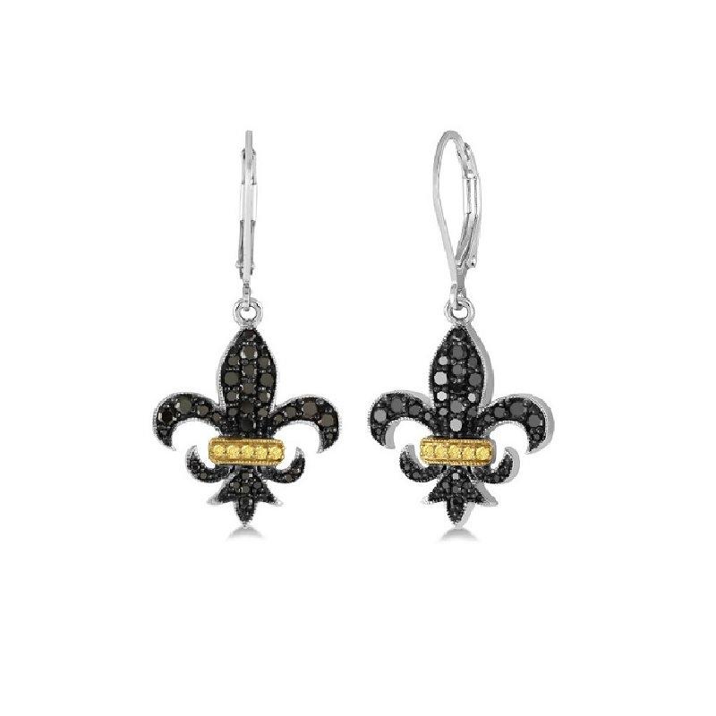 3/4ct tw Diamond Fleur De Lis Earrings in Sterling Silver