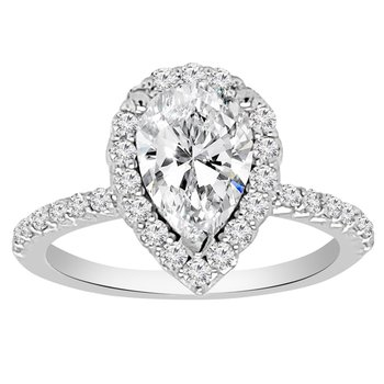 1 5/8ct tw NewBorn Lab Created Diamond Halo Engagement Ring in 14K White Gold