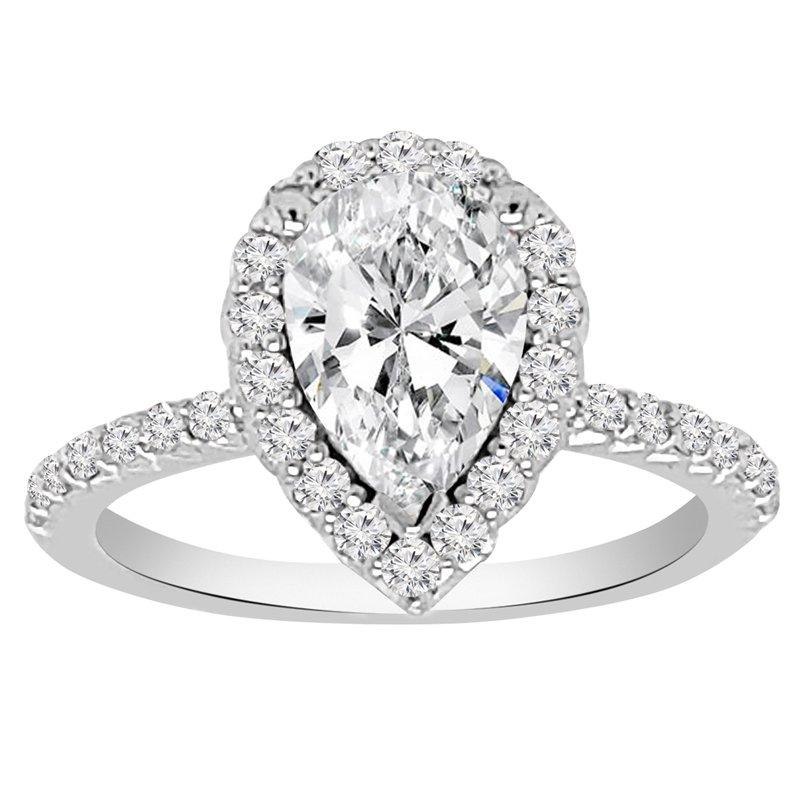 1 5/8ct tw NewBorn Lab Created Diamond Halo Engagement Ring in 14K White Gold