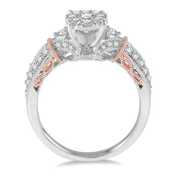 3/4ct tw Diamond Thousand Points of Light Engagement Ring in 14K White & Rose Gold
