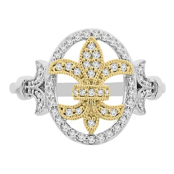 1/4ct tw Diamond Fleur De Lis Ring in 14K White & Y ellow Gold