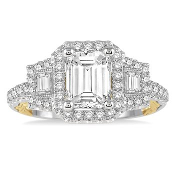5/8ct tw Diamond Halo Engagement Ring Setting in 14K White & Yellow Gold