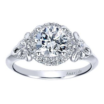1/4ct tw Diamond Halo Engagement Ring Setting in 18K White Gold