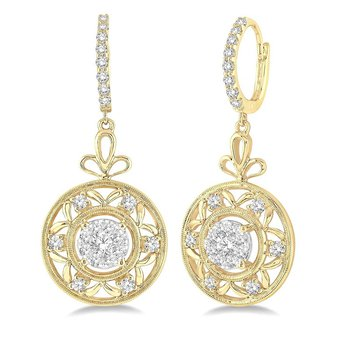 3/4ct tw Diamond Thousand Points of Light Dangle Earrings in 14K White & Yellow Gold