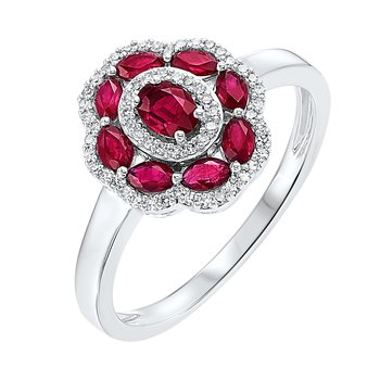 1ct tw Diamond & Ruby Halo Ring in 14K White Gold