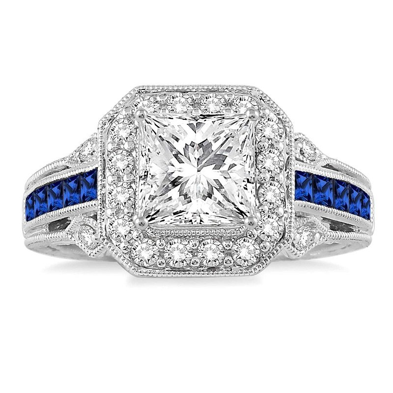 1/2ct tw Diamond & Blue Sapphire Engagement Ring Setting in 14K White Gold