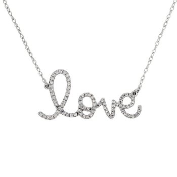 "1/4ct tw Diamond ""Love"" Necklace in 14K White Gold"