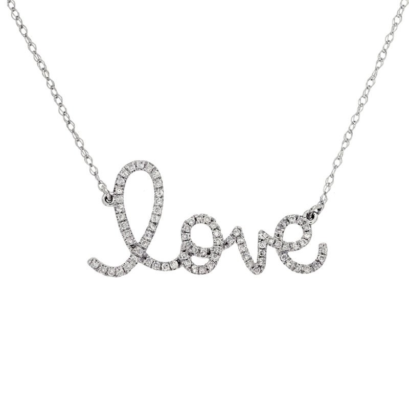 """1/4ct tw Diamond """"Love"""" Necklace in 14K White Gold"""