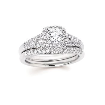 3/4ct tw Diamond Love's First Kiss Halo Engagement Ring in 14K White Gold
