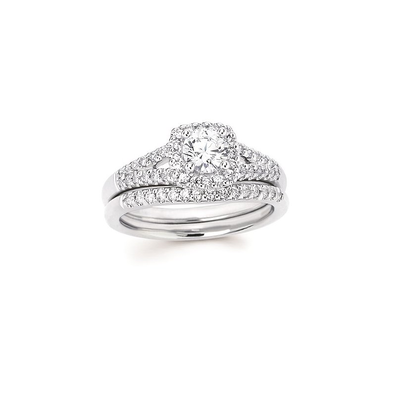 1/4ct tw Diamond Love's First Kiss Halo Engagement Ring Setting in 14K White Gold