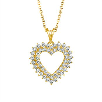 1/2ct tw Diamond Heart Necklace in 10K Yellow Gold