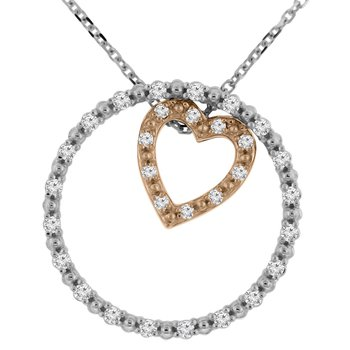 1/4ct tw NewBorn Lab Created Diamond Circle of Love Necklace in 10K White and Rose Gold