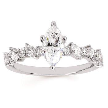 1 1/2ct tw NewBorn Lab Created Diamond Engagement Ring in 14K White Gold