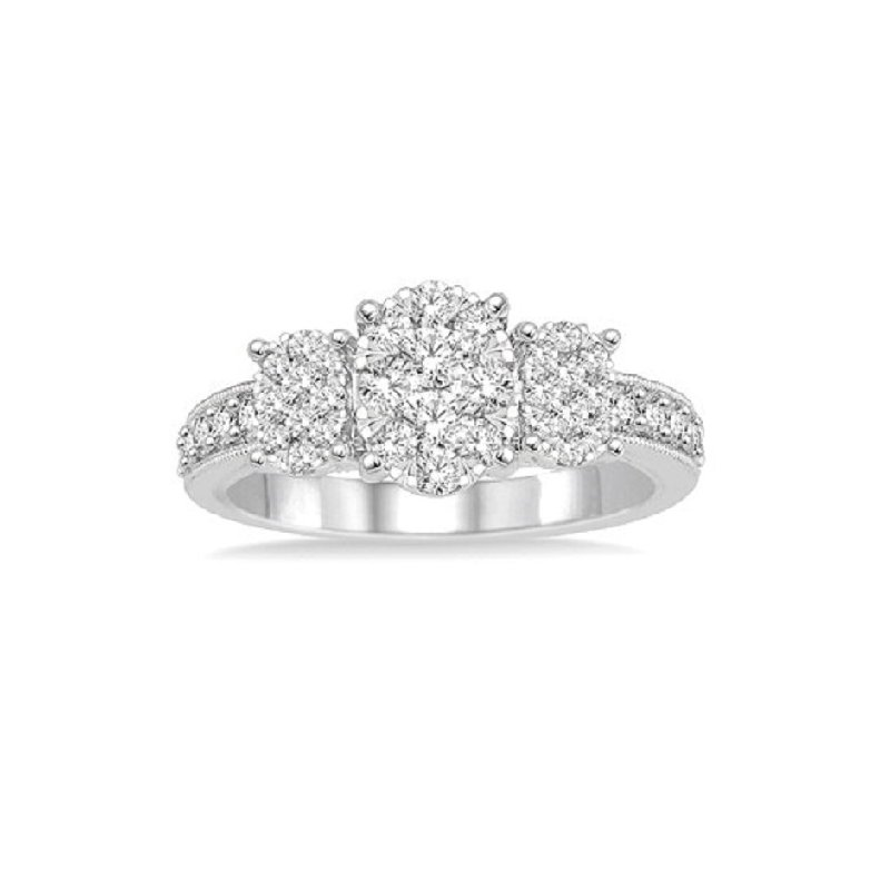 7/8ct tw Diamond Thousand Points of Light Engagement Ring in 14K White Gold