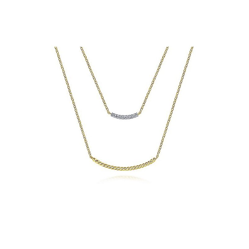 .06ct tw Diamond Layered Neckalace in 14K Yellow Gold