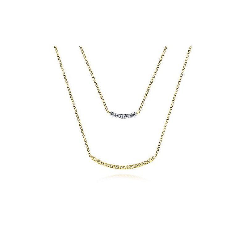 .06ct tw Diamond Layered Neckalace in 14K Yellow Gold