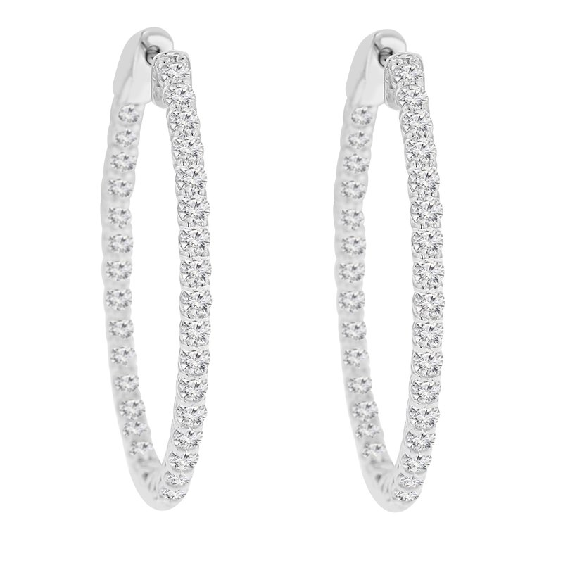3 1/3ct tw NewBorn Lab Created Diamond Hoop Earrings in 14K White Gold