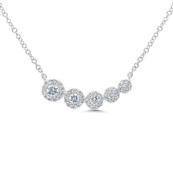 1/3ct tw Diamond Graduated Bar Necklace in 14K White Gold
